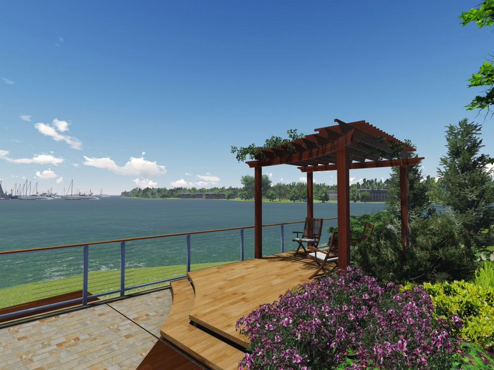 A new pergola defines an elevated seating space overlooking over the bay.