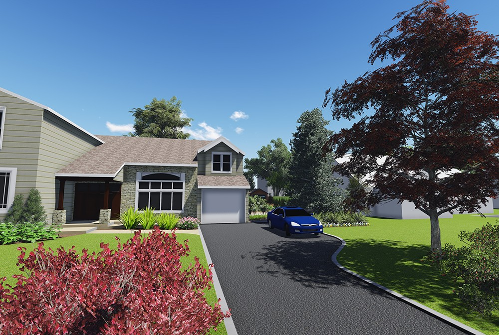 The design for the front of the house is tasteful and simple, in keeping with the neighborhood's context.