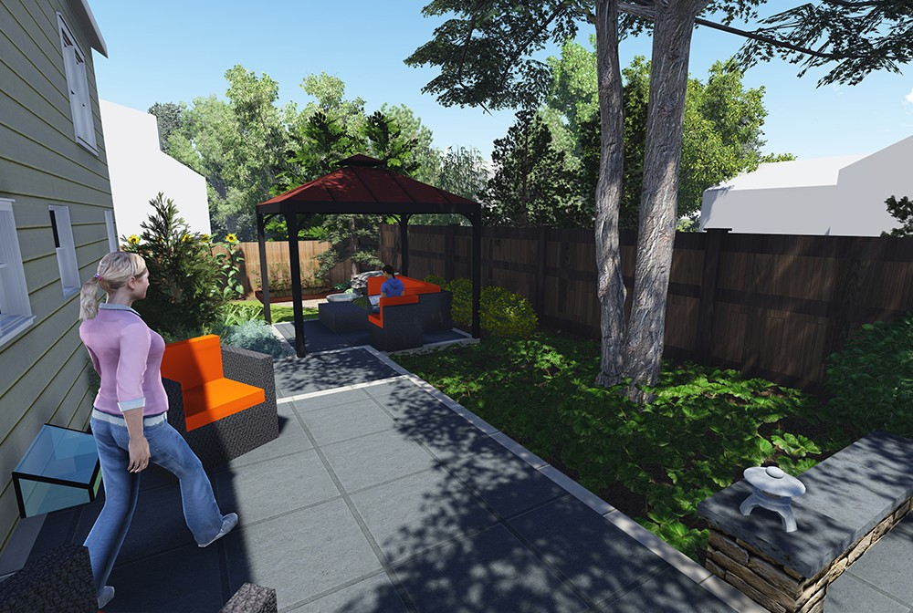 This central patio links the other two spaces with the house, and also serves as an informal sitting space on its own.