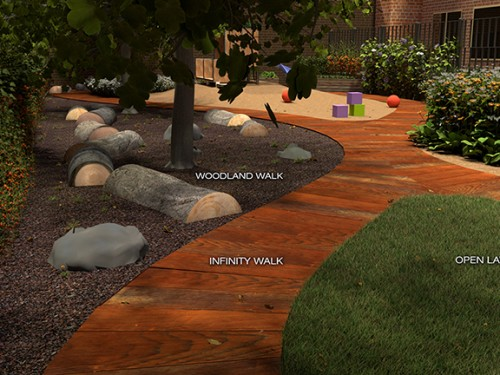 Under the existing trees, we have created a space for walking or holding class activities.